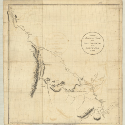A map of Mackenzie's track, from Fort Chipewyan to the North Sea, in 1789