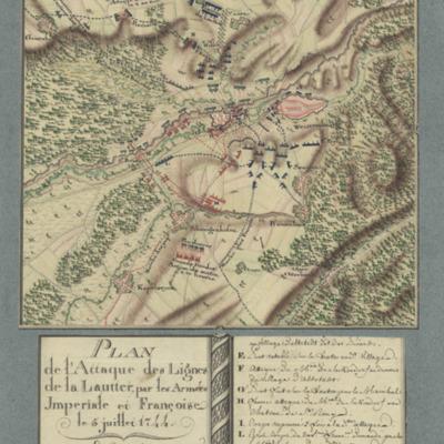 Plan de l'Attaque des Lignes de la Lautter, par les Armées, Imperiale et Françoise, le 5 juillet 1744.