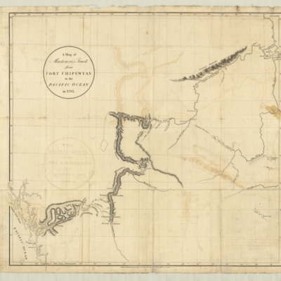 A map of Mackenzie's track from Fort Chipewyan to the Pacific Ocean in 1793